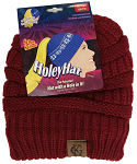 HoleyHat Ponytail Knit Hat with a Hole in it! RED