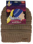 HoleyHat Ponytail Knit Hat with a Hole in it! Tan