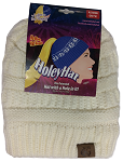 HoleyHat Ponytail Knit Hat with a Hole in it! White