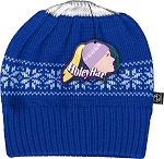 HoleyHat Ponytail Knit Hat with a Hole in it! Blue with white snowflake