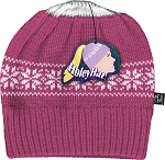 HoleyHat Ponytail Knit Hat with a Hole in it! Pink with white snowflake